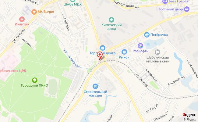 Карта расположения пункта доставки Шебекино Московская в городе Шебекино