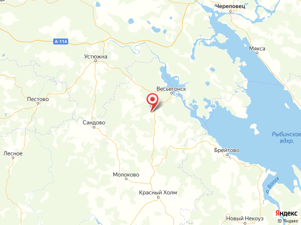 деревня Малышево на карте