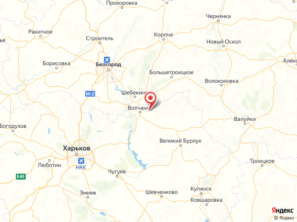 село Волчанские Хутора на карте