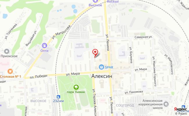 Карта расположения пункта доставки Халва в городе Алексин