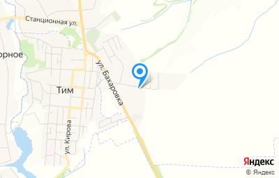 Местоположение на карте пункта техосмотра по адресу Курская обл, Тимский р-н, с 1-е Выгорное, ул Бахаровка, д 29Г