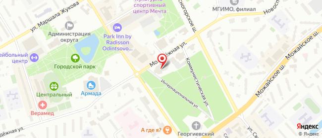 Карта расположения пункта доставки Одинцово Молодежная в городе Одинцово