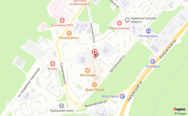 Карта расположения пункта доставки Троицк Сиреневый в городе Троицк