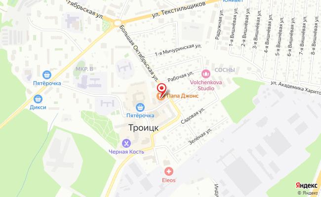Карта расположения пункта доставки Троицк микрорайон В в городе Троицк