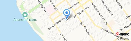 Магазин продуктов на ул. Тургенева на карте Анапы