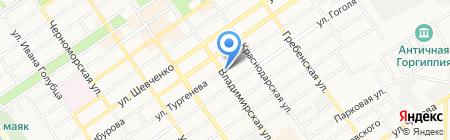 Продовольственный магазин на ул. Тургенева на карте Анапы