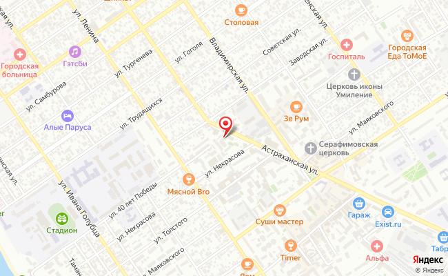 Карта расположения пункта доставки Ростелеком в городе Анапа