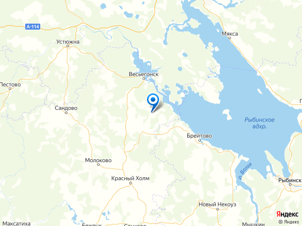 деревня Федово на карте