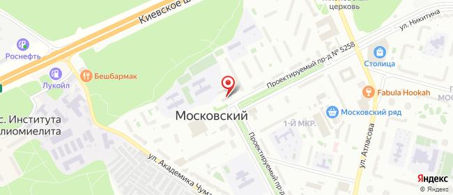 Карта расположения пункта доставки Московский 1-й мкр в городе Московский