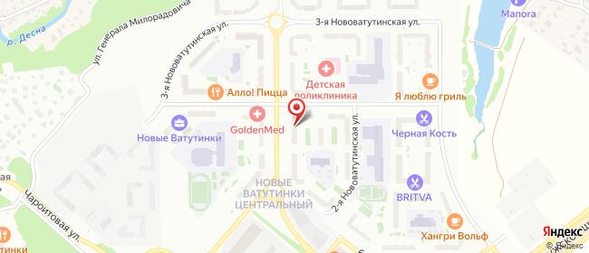 Карта расположения пункта доставки Пункт выдачи в городе Ватутинки
