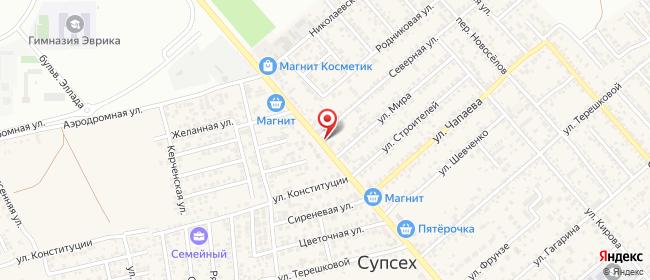 Карта расположения пункта доставки На Советской в городе Супсех