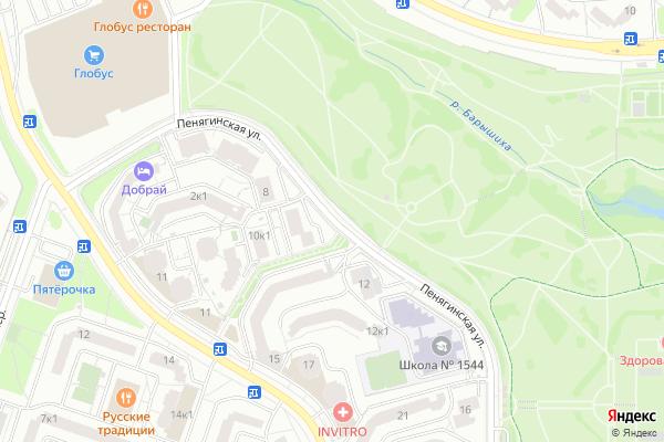 Ремонт телевизоров Улица Пенягинская на яндекс карте