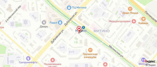 Карта расположения пункта доставки Москва Митинская в городе Москва