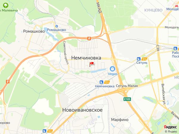 Карта населенный пункт Немчиновка