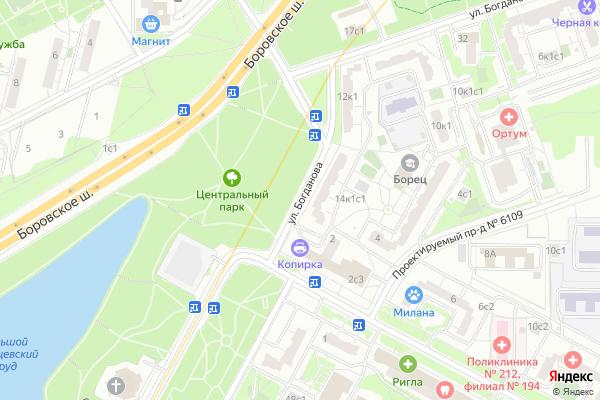 Ремонт телевизоров Улица Богданова на яндекс карте