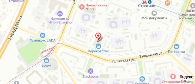 Карта расположения пункта доставки Москва Таллинская в городе Москва