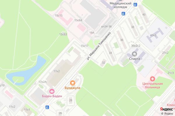 Ремонт телевизоров Улица Маршала Тимошенко на яндекс карте