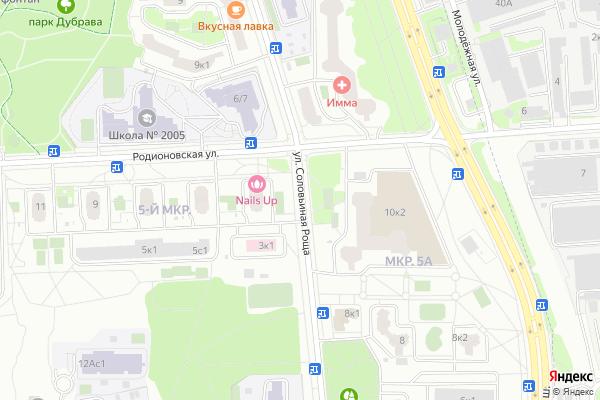 Ремонт телевизоров Улица Соловьиная Роща на яндекс карте