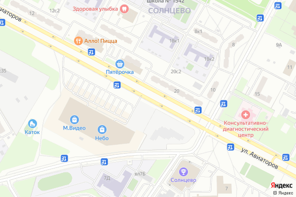 Ремонт телевизоров Улица Авиаторов на яндекс карте