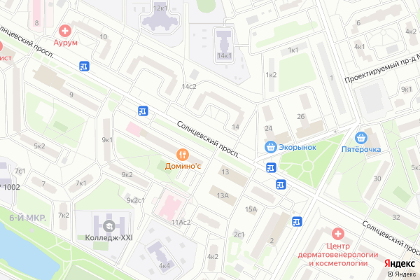 Ремонт телевизоров Солнцевский проспект на яндекс карте