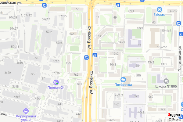 Ремонт телевизоров Улица Боженко на яндекс карте
