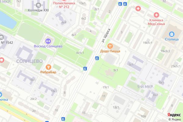 Ремонт телевизоров Улица Щорса на яндекс карте