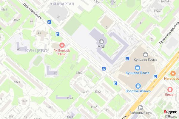 Ремонт телевизоров Улица Партизанская на яндекс карте