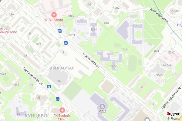 Ремонт телевизоров Улица Оршанская на яндекс карте