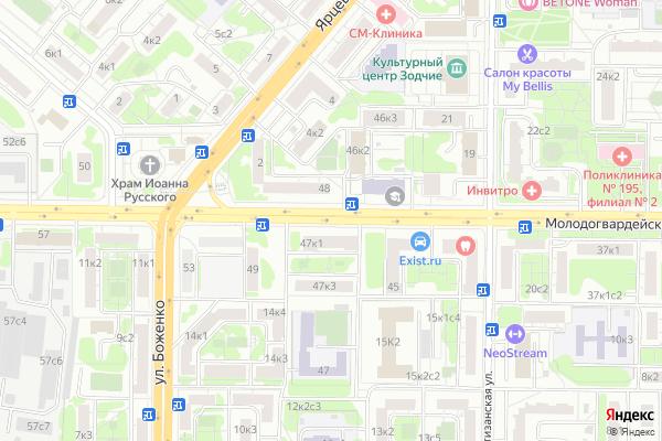 Ремонт телевизоров Улица Молодогвардейская на яндекс карте