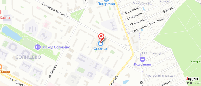 Карта расположения пункта доставки Москва Солнцевский в городе Москва