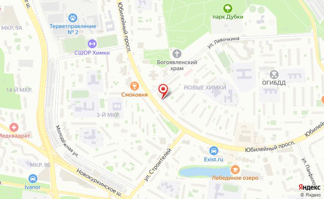 Карта расположения пункта доставки Химки Юбилейный в городе Химки
