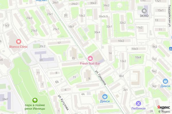 Ремонт телевизоров Улица Гришина на яндекс карте