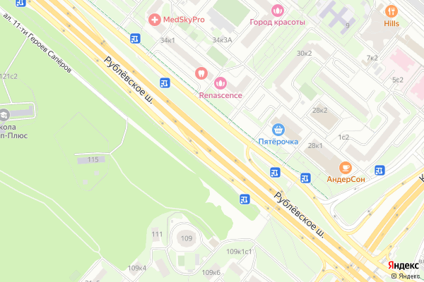 Ремонт телевизоров Рублевское шоссе на яндекс карте