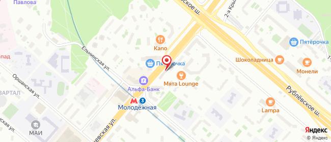 Карта расположения пункта доставки Москва Ярцевская в городе Москва