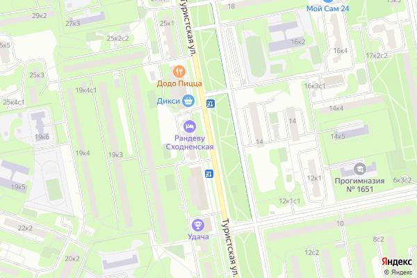 Ремонт телевизоров Улица Туристская на яндекс карте