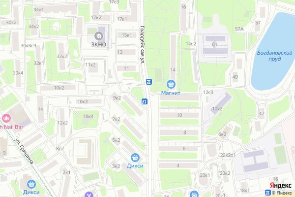 Ремонт телевизоров Улица Гвардейская на яндекс карте