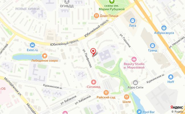 Карта расположения пункта доставки Химки Панфилова в городе Химки