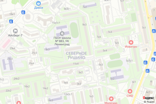Ремонт телевизоров Район Тушино Северное на яндекс карте