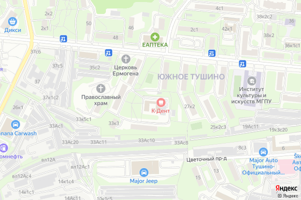 Ремонт телевизоров Район Тушино Южное на яндекс карте