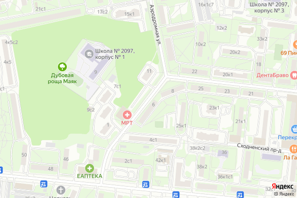 Ремонт телевизоров Улица Аэродромная на яндекс карте