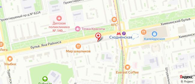 Карта расположения пункта доставки Москва Яна Райниса в городе Москва
