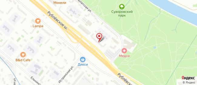 Карта расположения пункта доставки Москва Рублевское в городе Москва