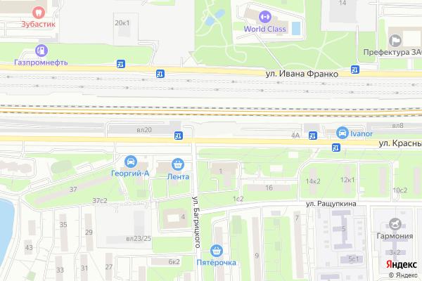 Ремонт телевизоров Улица Красных Зорь на яндекс карте