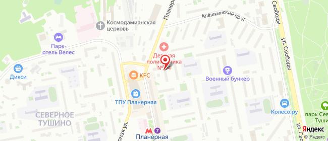 Карта расположения пункта доставки Москва Планерная в городе Москва