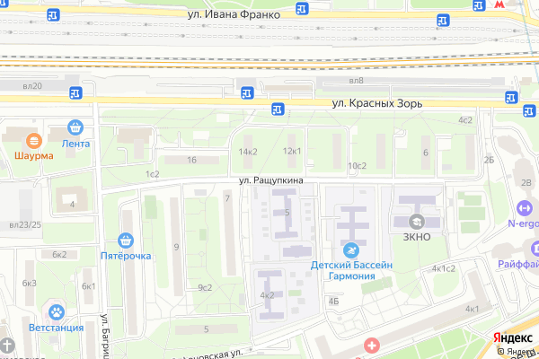 Ремонт телевизоров Улица Ращупкина на яндекс карте