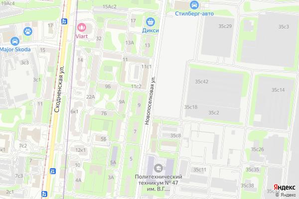 Ремонт телевизоров Улица Новопоселковая на яндекс карте