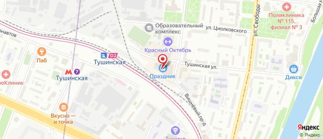 Карта расположения пункта доставки Москва Тушинская в городе Москва