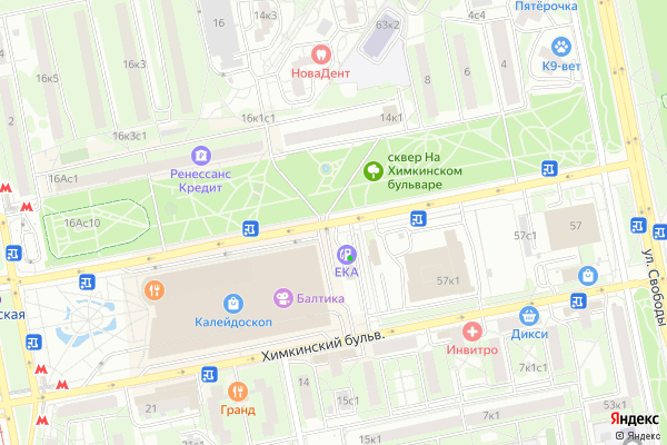 Ремонт телевизоров Химкинский бульвар на яндекс карте