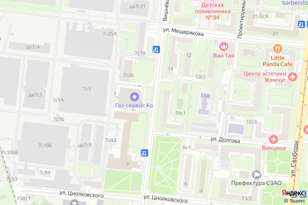 Ремонт телевизоров Улица Вишневая на яндекс карте