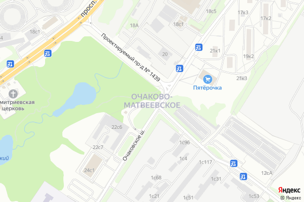 Ремонт телевизоров Район Очаково Матвеевское на яндекс карте